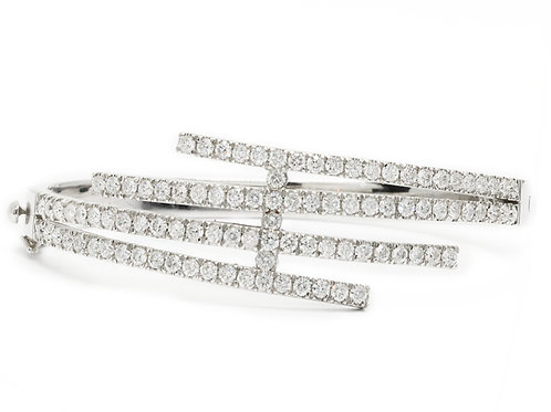 Two-Row Bypass Diamond Bangle Bracelet