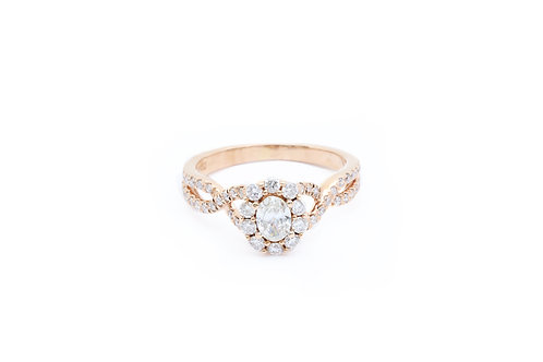 Oval Infinity Halo Engagement Ring