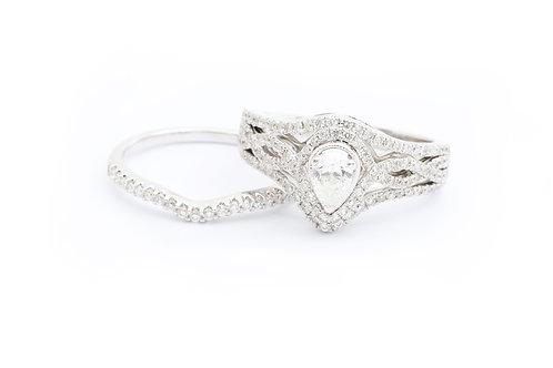 Pear Shape Multirow Infinity Halo Bridal Set