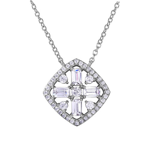 Diamond Shape with Cross Center Necklace