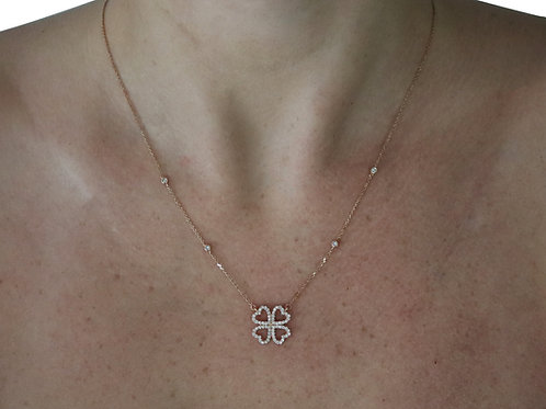 Diamond Four Leaf Clover Necklace