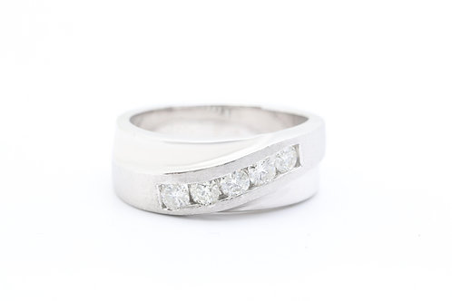 Diamond Slant Wedding Band