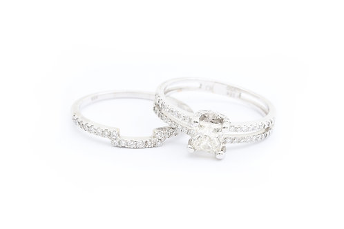 0.75ct Princess Cut Double Row Bridal Set with Curved Band