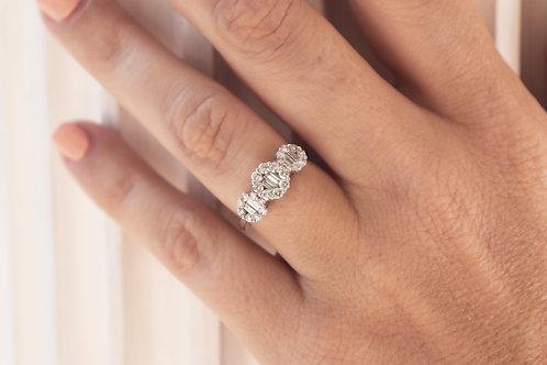 1ct Round & Baguette Composite Three Stone Ring