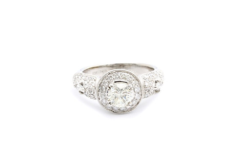 0.81ct Round Pave Halo Engagement Ring