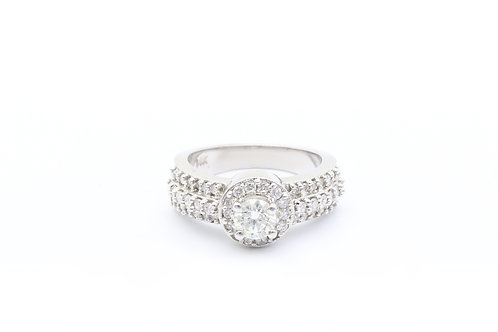 Round Halo Multirow Engagement Ring