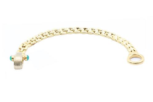 Fancy Gold Link Bracelet w/ Cabochon Emeralds