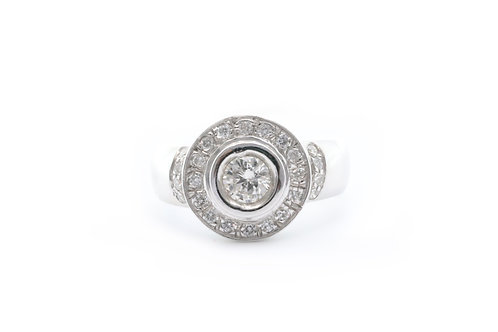 Bezel-Set Round Cut Halo Ring
