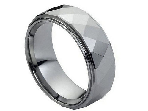 Domed Faceted Ring Stepped Edge – 8mm