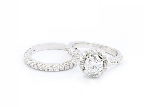 1.01ct Round Cut Halo Engagement Ring
