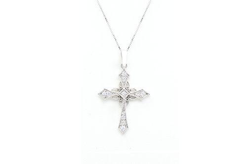 Milgrain Vintage Style Diamond Cross