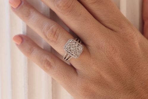 1.50ct Composite Diamond Rectangular Halo Split Shank Ring