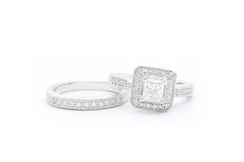 Princess Cut Vintage Halo Bridal Ring