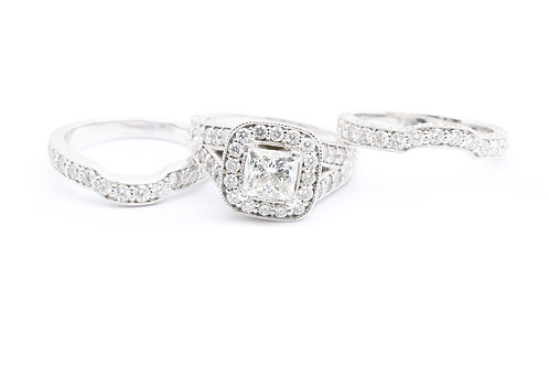 1.21ct Princess Cut Halo 3 Piece Bridal Set