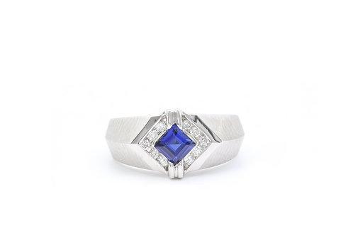 Kite-Set Sapphire Diamond Ring