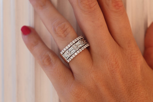 Double Row Baguette Round Diamond Band