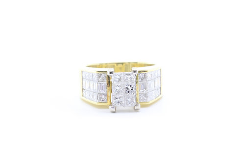 2.80ct Princess and Baguette Invisible-Set Ring