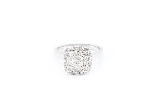0.50ct Round Double Cushion Halo Engagement Ring with Plain Shank
