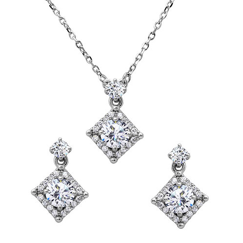 Square Halo Necklace & Earring Set