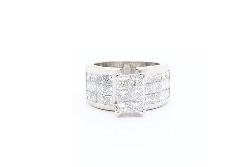 3.58 ct tw Princess Invisible Set Engagement Ring