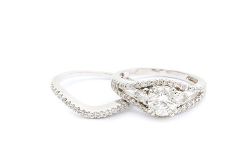 Three Stone Round Bridal Set