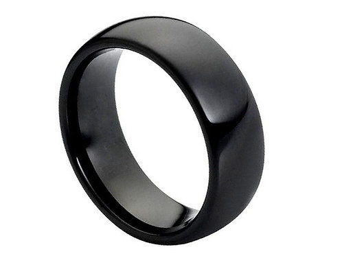 High Polished Shiny Black IP Plated Classic Domed Ring – 8mm