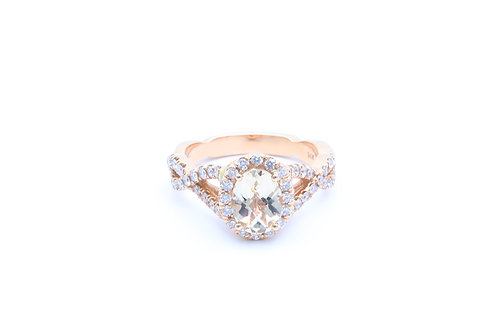 Oval Morganite Twisted Shank Halo Ring