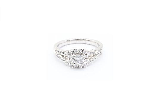 Round Cushion Halo Engagement Ring