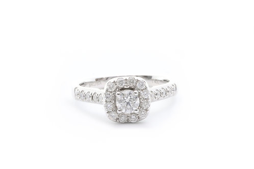 Square Halo Round Engagement Ring