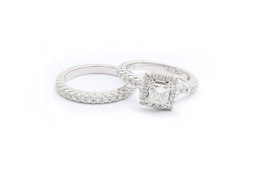 0.70ct Princess Cut Halo Bridal Set