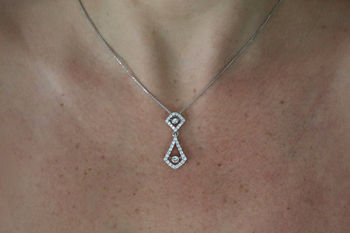 Two Tiered Rocking Diamond Chandelier Necklace