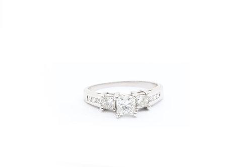 Three Stone Princess Engagement Ring