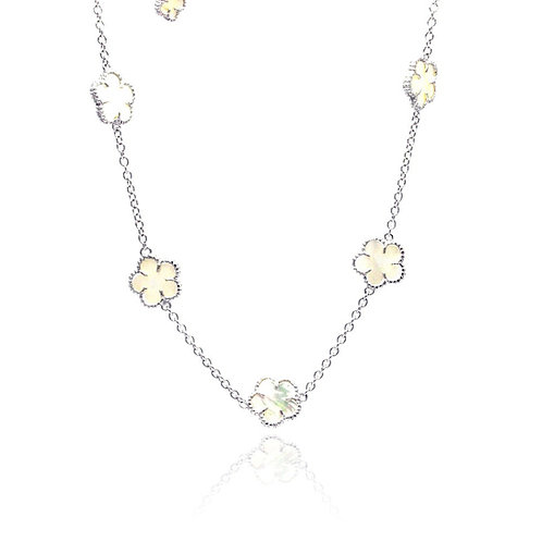 MOP Flower White Enamel CZ Necklace