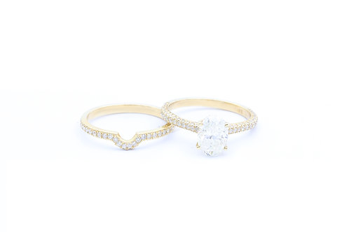 1.50ct Oval Hidden Halo Bridal Set - 14k Yellow Gold