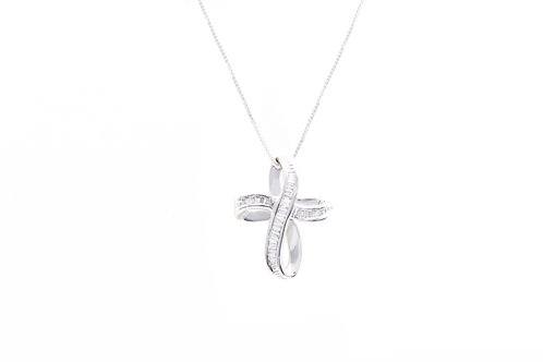 Infinity Ribbon Baguette Diamond Cross