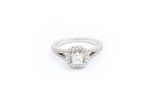 0.50ct Princess Cut Halo Engagement Ring