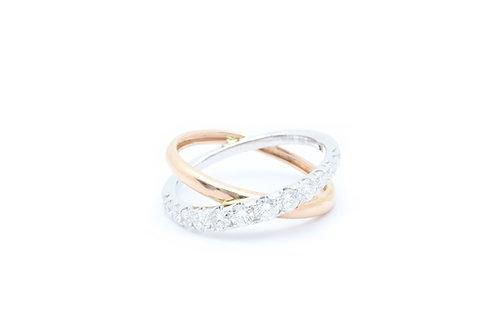 Cross Over Diamond Ring