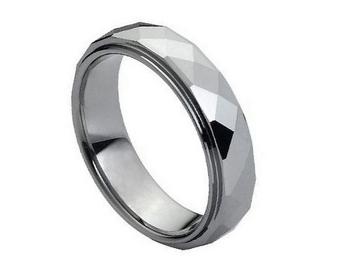 Domed Faceted Ring Stepped Edge – 6mm