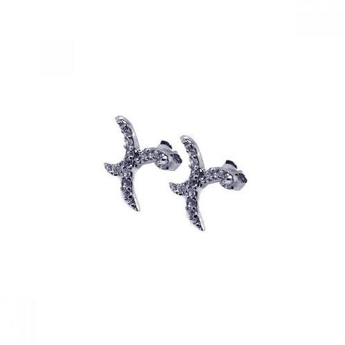 Curvy X CZ Stud Earrings