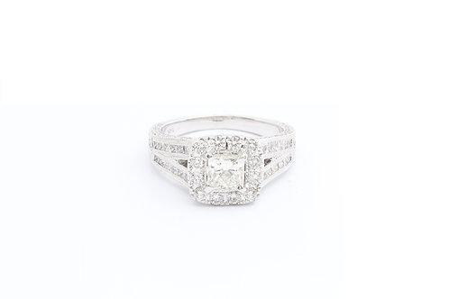 1.02ct Princess Cut Split Shank Vintage Halo Engagement Ring