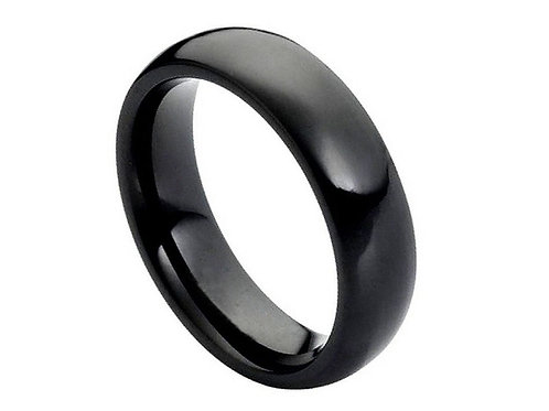 High Polished Black IP Plated Classic Domed Band – 6mm