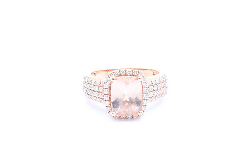 Cushion Morganite Halo Ring