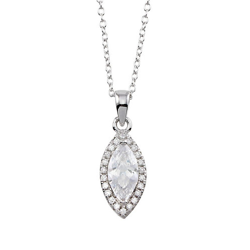 Halo Marquise Shaped Necklace
