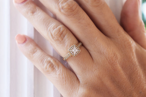 Square Composite Cluster Halo Vintage-Style Engagement Ring