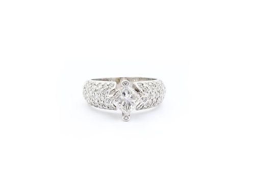 1.20ct Princess Cut Vintage Style Engagement Ring