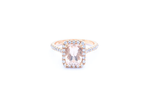 Radiant Morganite Halo Ring