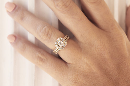 Princess Cut Halo Bridal Set