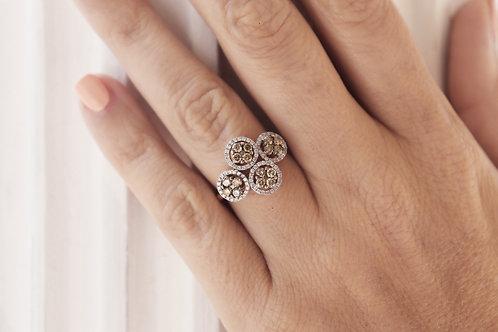 Four Chocolate Diamond Circle Ring