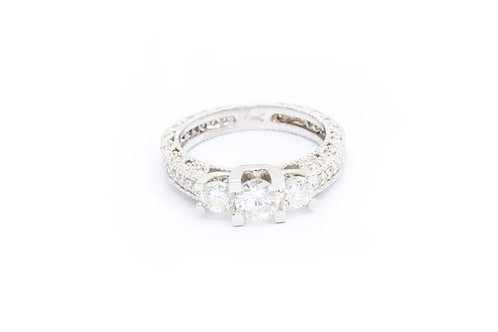 0.50ct Round 3-Stone Vintage Engagement Ring