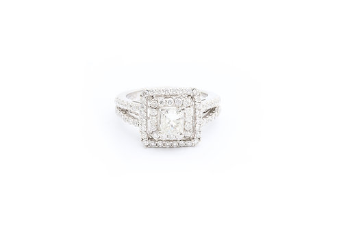 1.02ct Princess Cut Double Halo Engagement Ring
